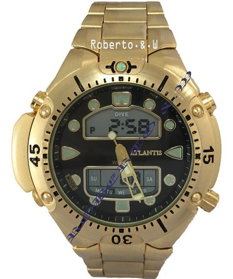 Relógio Masculino Atlantis Dourado Luxo Analógico E Digital