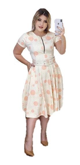 Vestido Evangélico Poá Neoprene Digital Godê 3d Feminino
