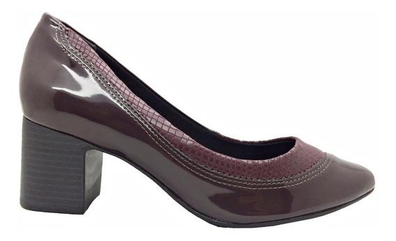 Sapato Comfortflex Feminino Croco Vinho Lançamento
