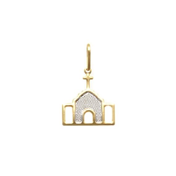 Pingente Ouro Igreja Trancoso 15mm Meio Reticulado Com Ródio