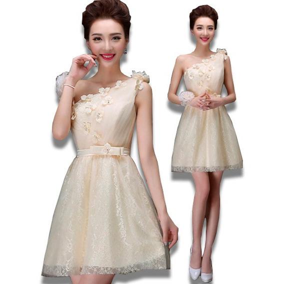 Vestidos Elegantes Mini Asimétrico Flores Atractivo Tres