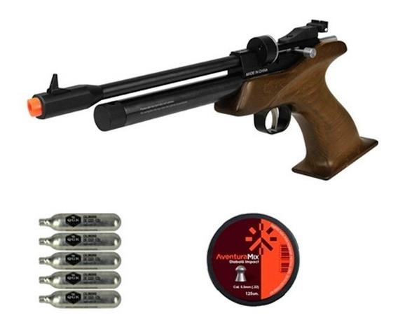 Pistola De Pressão Co2 Cp1-m Madeira 5.5mm + Co2 + Chumbinho