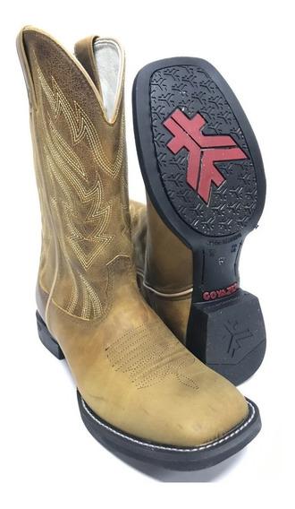 Bota Texana Goyazes Country Masculina Rústica Bico Quadrado