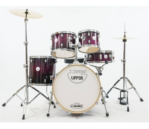 Bateria X-pro New Upper Purple Sparkle Bumbo 20 Banco Pratos