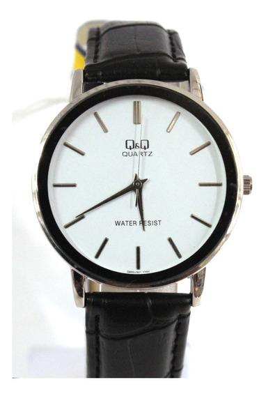 Relógio Q&q Analógioco Pulseira De Couro Ref Q850j301y