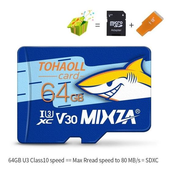 Cartão De Memoria 64gb +mixza U3 80 Mb/s Class10 Uhs-1
