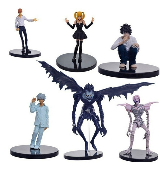 Kit 6 Bonecos Death Note L N Misa Light Yagami Rem Ryuk 24cm