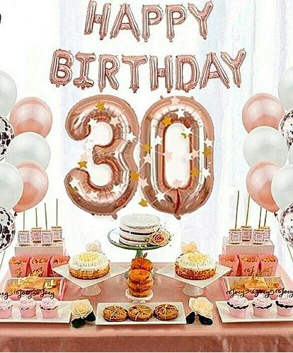 Kit Globos Oro Rosa Metalico 30 Años Cumpleaños+platos Vasos