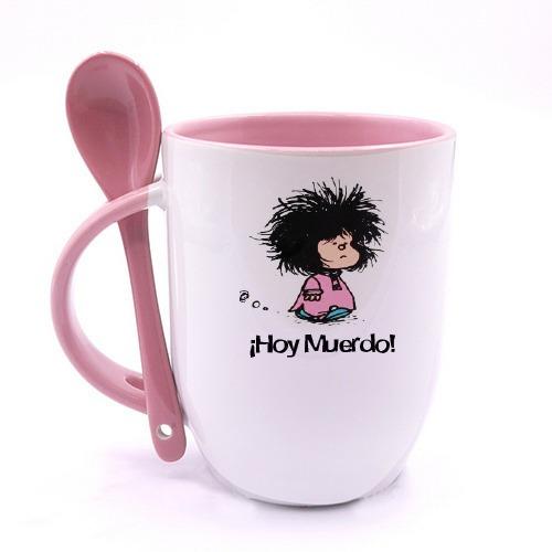 Imagen 1 de 3 de Taza Mafalda Personalizada Con Tu Nombre Cuchara Rosa