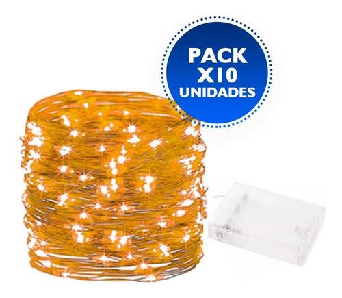 Pack X 10 Luces Guirnalda Calidas Alambre 30 Led A Pila