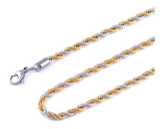 Corrente Cordão Torcido Masculino 60cm Aço Fio Banhado Ouro