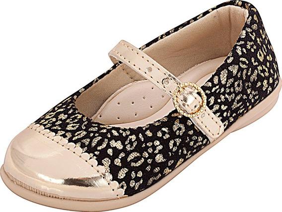 Sapatilha Infantil Menina Plis Calçados Oncinha Dourada 108