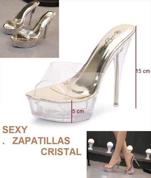 Zapatillas Crystal Doradas Tacon 15cm Plataforma 5cm