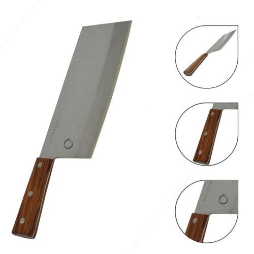 Imagen 1 de 4 de Cuchillo Carnicero En Acero Inoxidable Mango De Madera.