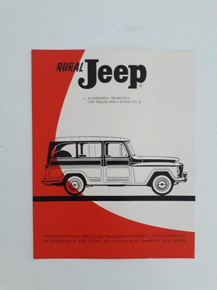 Folder Folheto Brochura Willys Jeep Rural Antigo Raro !!!