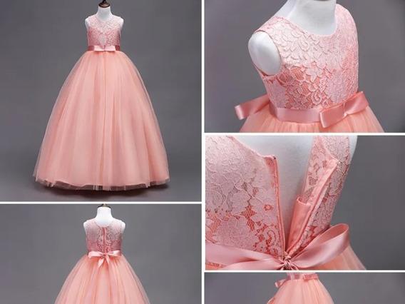 Vestido De Fiesta Para Niña Color Rosa Palo