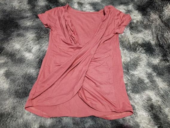 Kit 2 Blusa Camiseta Transpassada E Furadinha Laço Amarrar
