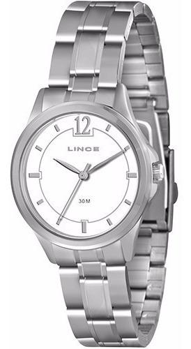 Relógio Feminino Lince Clássico Pequeno Prata Visor Branco
