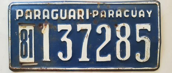 Placa Carro Antiga Ferro Paraguai Paraguari 137285
