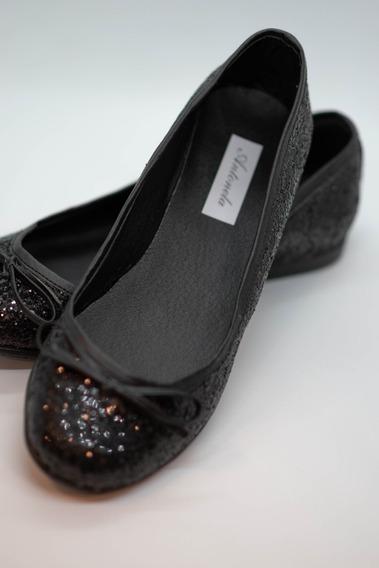 Excelentes Chatitas Negras Con Glitter Del 35 Al 40