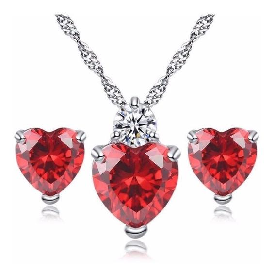Set Collar Y Aretes Plata 925 Mujer Zirconia Regalo Corazón