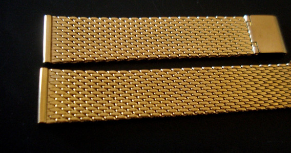 Pulseira 20 Mm Esteira Reforçada Aço Fol Ouro Frete Grátis