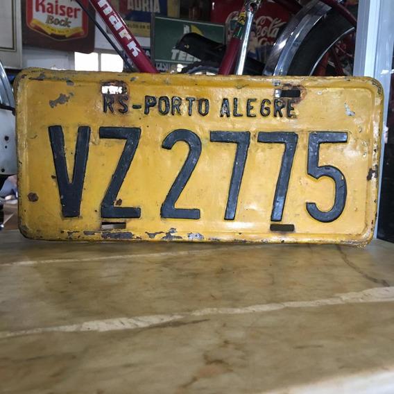 Placa Amarela Porto Alegre Carro Antigo Ferro Ñ Medalha 698
