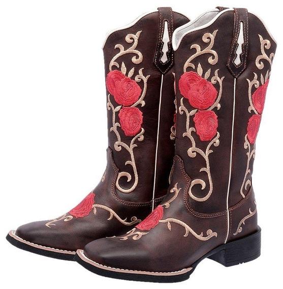 Bota Texana Flores Vermelha Couro Legitimo