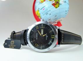 Relógio Ochstin Masculino Esportivo Couro Militar Preto Luxo