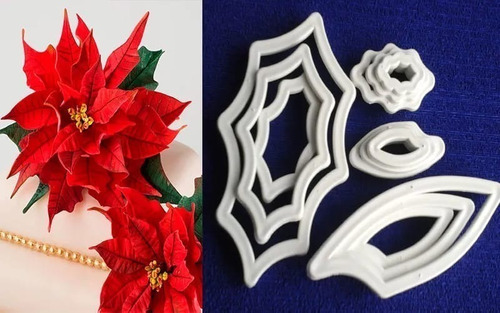 Juego De 12 Cortadores Poncettia O Flor Navidad Plásticos