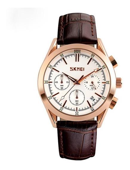 Reloj Hombre Skmei 9127 Elegante Piel Diales Funcionales