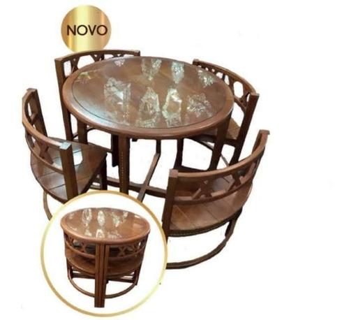 Mesa Redonda Ninho Com 4 Cadeiras Madeira Maciça