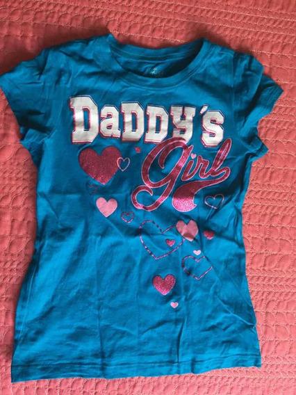 Playera Daddys Girl Azul De Niña Place Talla M 7/8