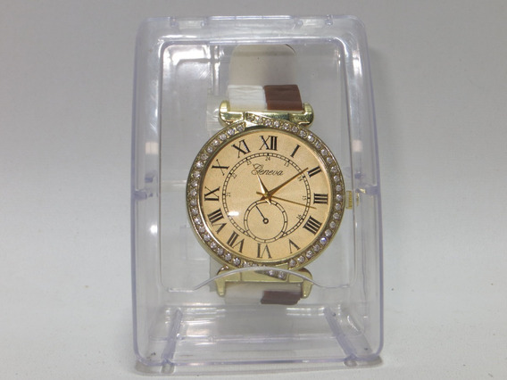Reloj Geneva Blanco Con Dorado Para Mujer