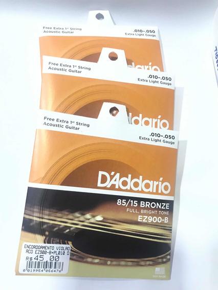 Kit 3 Enc. Daddario Ez900-b + 5 Palhetas Dunlop C/ Nf