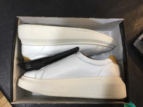 Zapatillas Cuero Blanco Marca Febo Casi Sin Uso