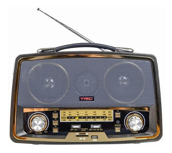 Caixa De Som Portátil Retrô Bluetooth Rádio 35w Trc 211