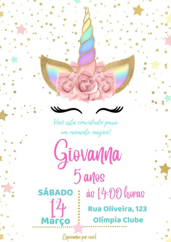 Imagem 1 de 1 de Convite Unicórnio - Digital