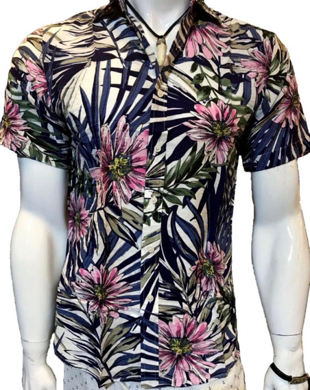 Camisa Masculina Kit 2 Estampa Manga Curto Moda