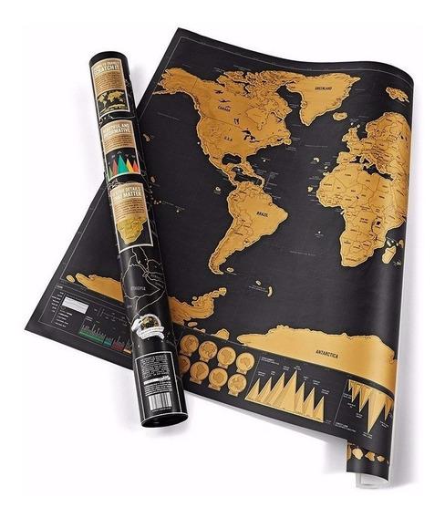 Mapa Raspa Black Edition Deluxe Mapamundi Para Viajeros