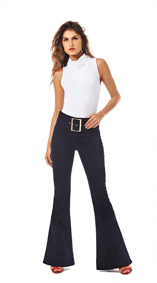 Calça Morena Rosa Flare Camila Cos Alto Com Cinto Jeans