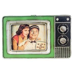 Porta-retrato Tv Televisão Vintage Retrô Rústico Metal