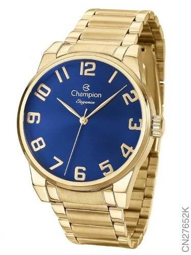 Relógio Dourado Champion Feminino Elegance Original Cn27652k