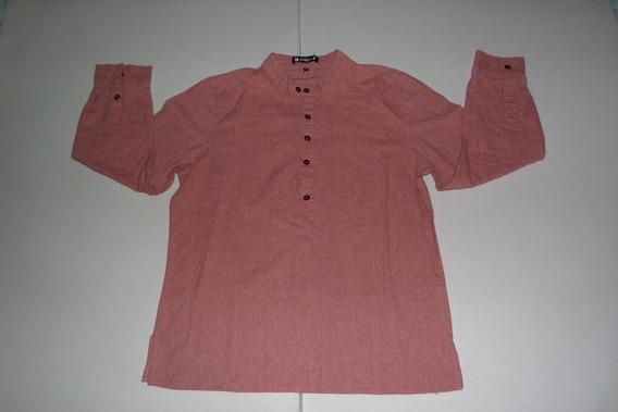 Camisa Casual, Cuello Redondo, Allegra K Talla 42, Hombre