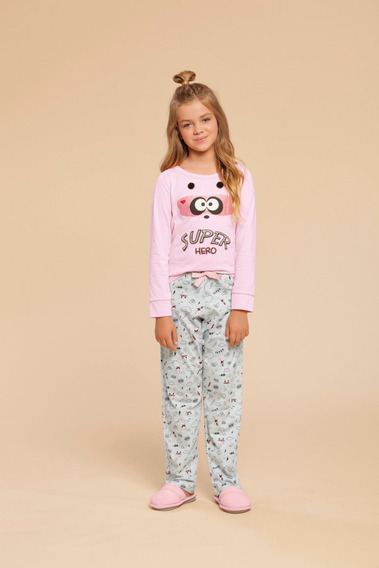Pijama Manga Longa Infantil Feminino Com Capa Ref - 014914