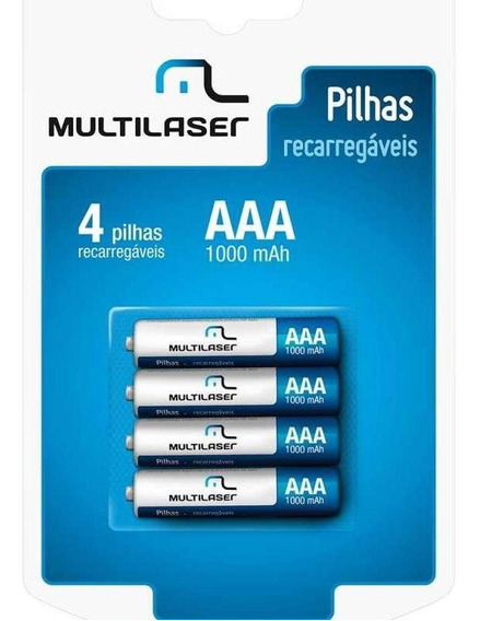 Pilhas Recarregáveis Aaa Multilaser 1000mah Com 4 Unidades - Cb050
