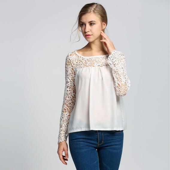 Novo Moda Mulheres Crochê Renda Tecido De Seda Costura Blus
