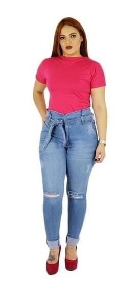 Calça Feminina Plus Size Jeans Cintura Alta 46 Á 60 Promoção