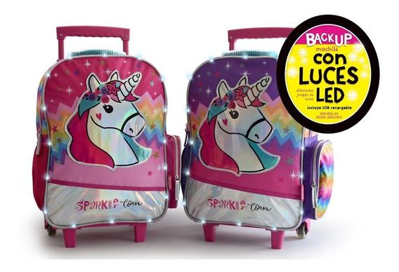 Mochila Carro Unicornio Con Luz Led Escolar Primaria 18p