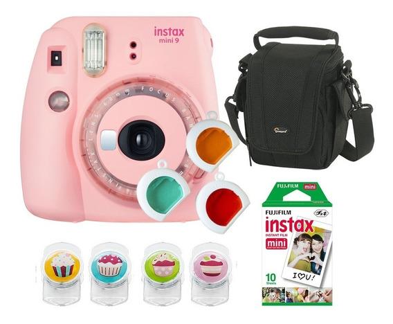 Câmera Fujifilm Instax Mini9 Rosa Chiclé C/ 3 Filtros